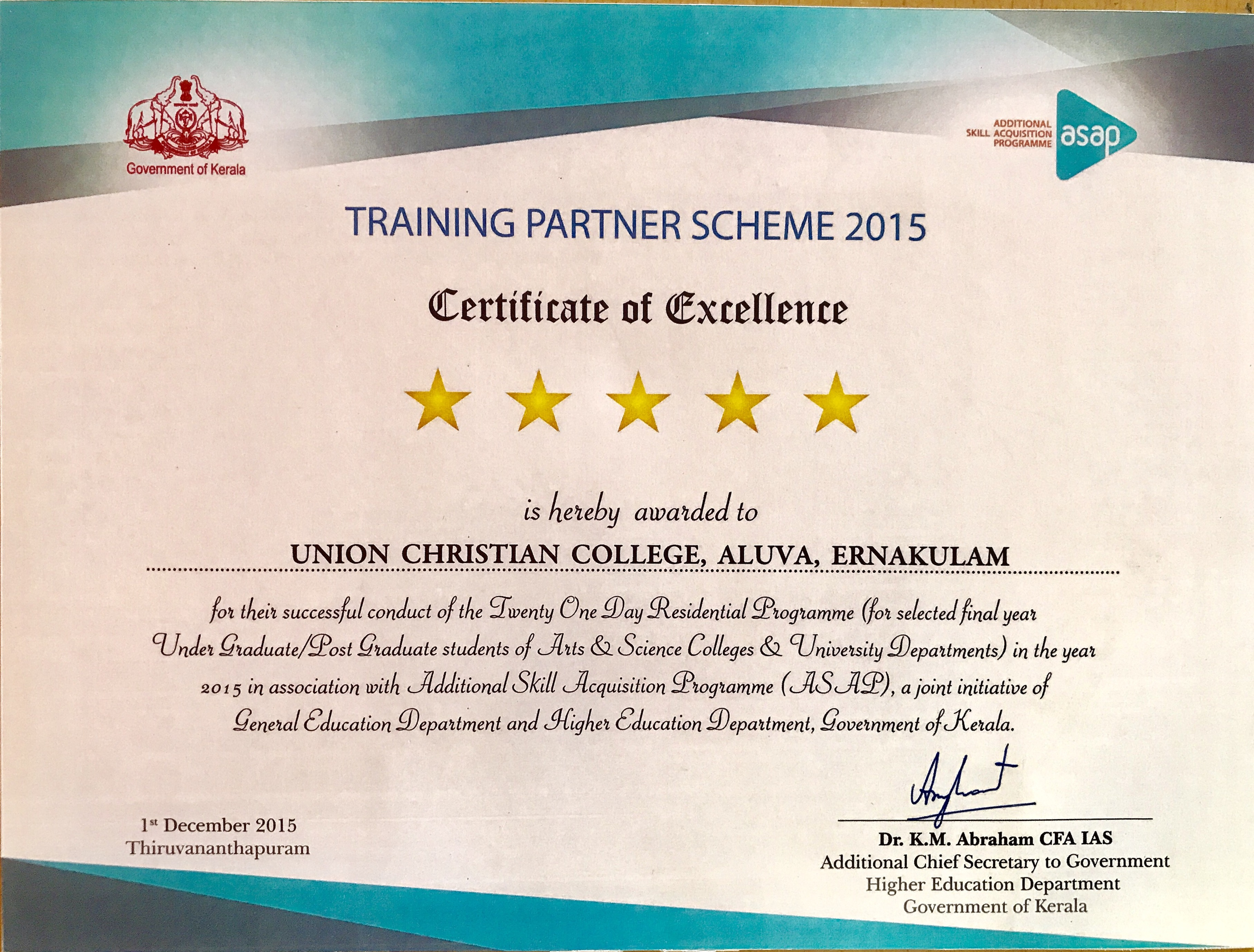 Ucc Secures Five Stars For Asap 2015 2016 Uc College Department Of